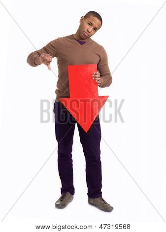 Happy Man Holding Arrow Sign On White Background