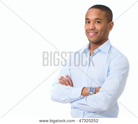 Portrait Of Young African Businessman Isolated Over White Background