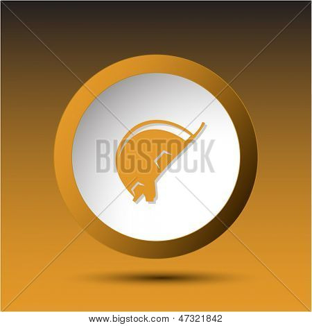 Hard hat. Plastic button. Vector illustration.