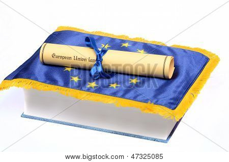 European Union law , European union flag and Law book