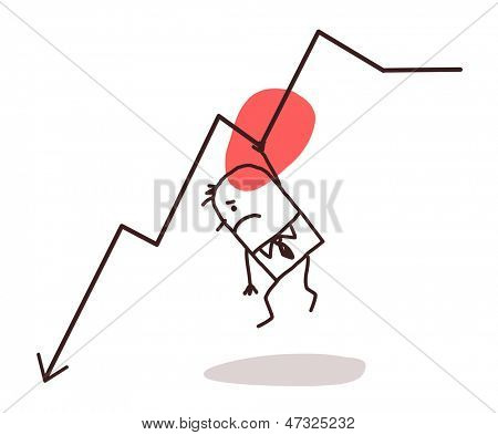 businessman and line down