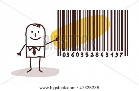 businessman and bar code