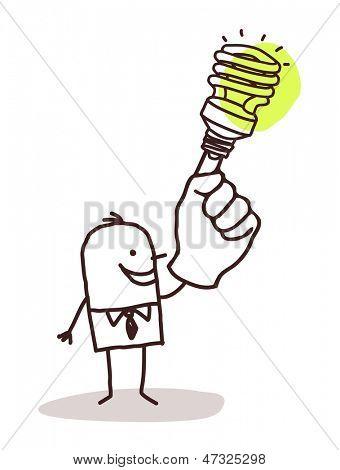 man with green light bulb on finger