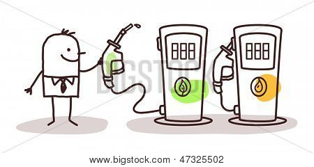 man choosing green fuel