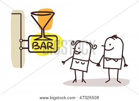 couple and bar sign