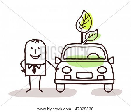 man with green car