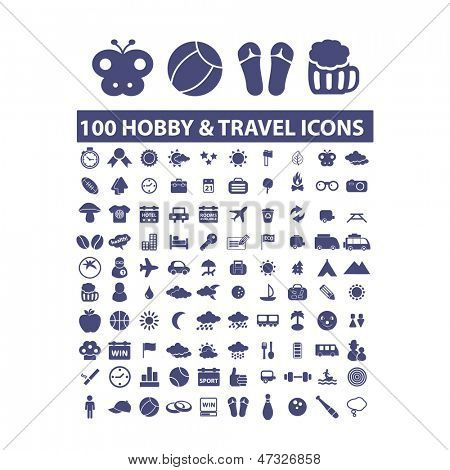 100 hobby & travel icons, signs set, vector