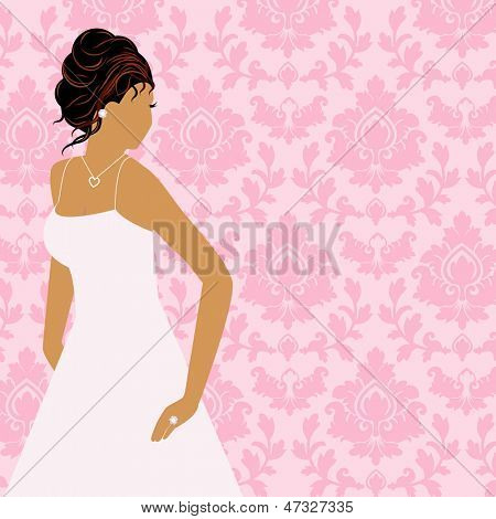 Beautiful bride with jewelry  and  damask wallpaper  background