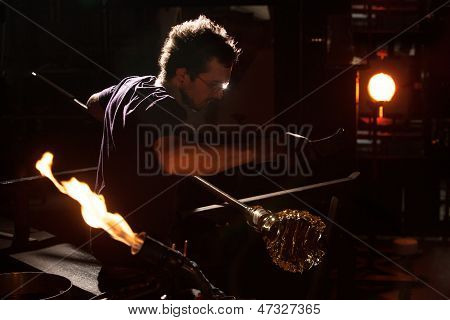 Glass Worker Near Blast Furnace
