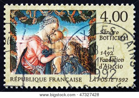 Postage Stamp France 1992 Virgin And Child Beneath A Garland