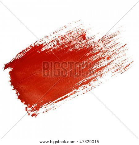 Red brush stroke isolated on the white background
