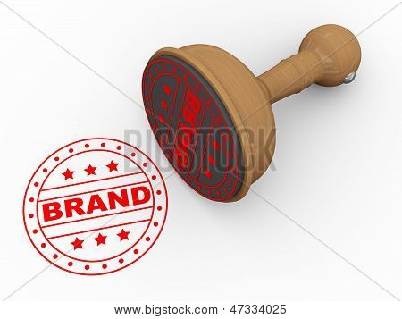 3D Wooden Rubber Stamp - Brand
