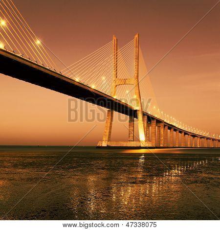 Sunrise On Famous Vasco Da Gama Bridge