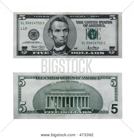 Five Dollar Bill With Path
