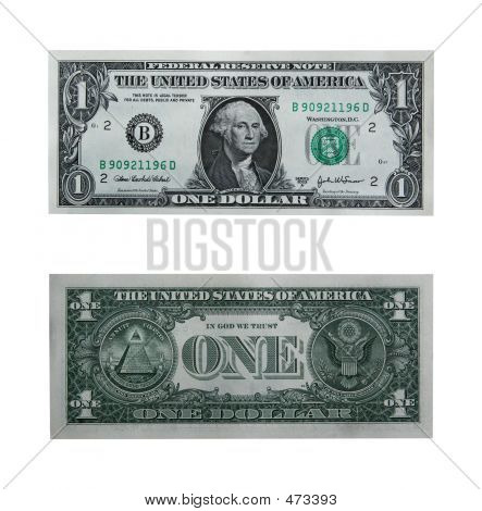 One Dollar Bill With Path poster