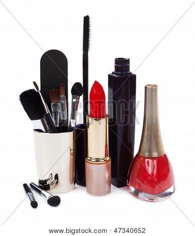 Women's Cosmetics Isolated On White