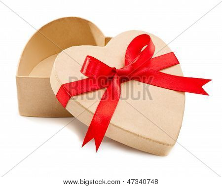 Gift, An Open Cardboard Box In A Heart With Red Ribbons