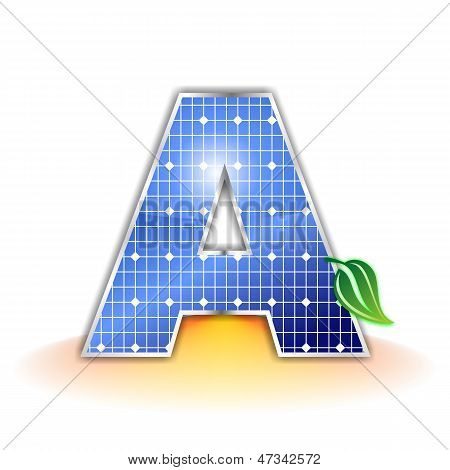 solar panels texture, alphabet capital letter A icon or symbol