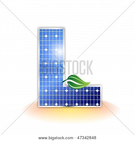 solar panels texture, alphabet capital letter L icon or symbol