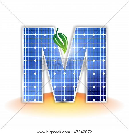 solar panels texture, alphabet capital letter M icon or symbol