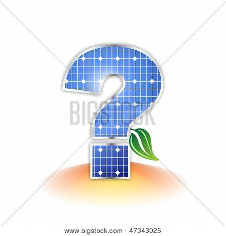 Solar panels texture, question mark icon or symbol
