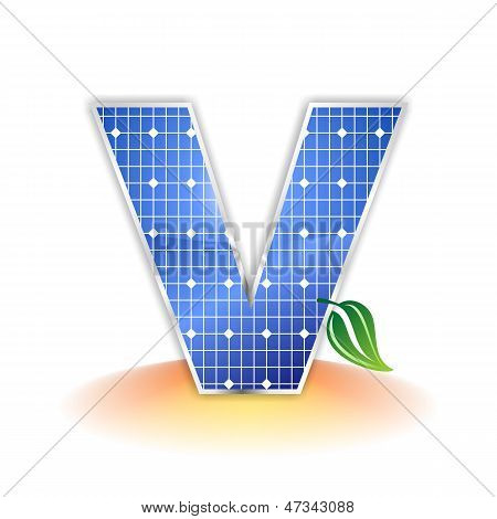 solar panels texture, alphabet capital letter V icon or symbol