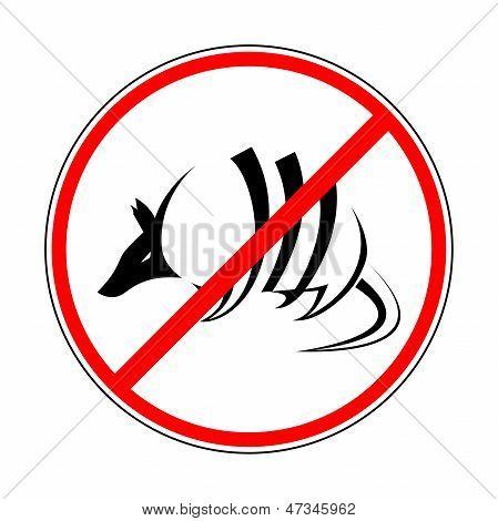 sign prohibiting armadillo