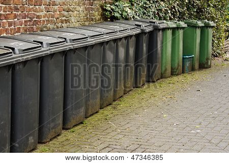 Line Of Residential Wheelie Bins