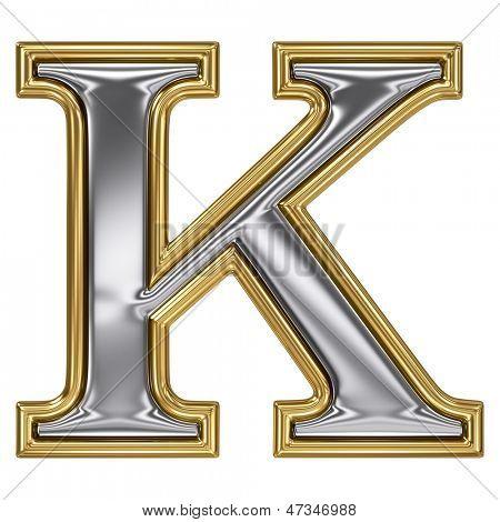 Metal silver and gold alphabet letter symbol - K