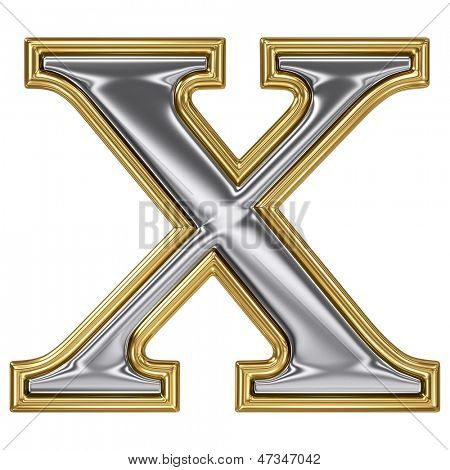Metal silver and gold alphabet letter symbol - X