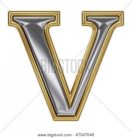 Metal silver and gold alphabet letter symbol - V