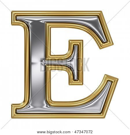 Metal silver and gold alphabet letter symbol - E