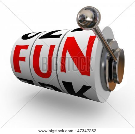 The word Fun on slot machine wheels or dials to illustrate entertainment and enjoyment of having a good time gambling on slots and other games of chance at a casino