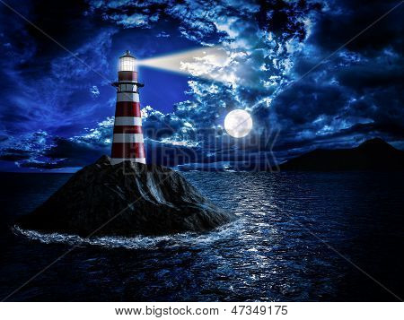 Lighthouse at moonlight