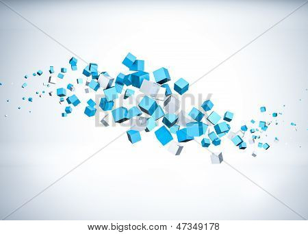 Blue cubes flying