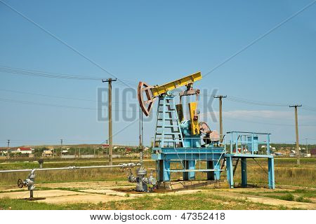 Oil pump jack in operation.
