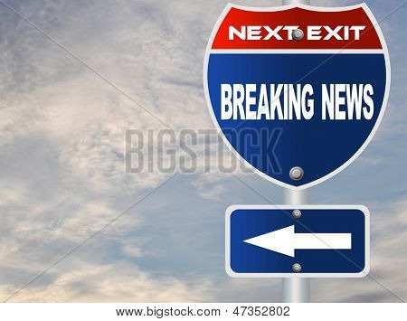 Breaking news road sign