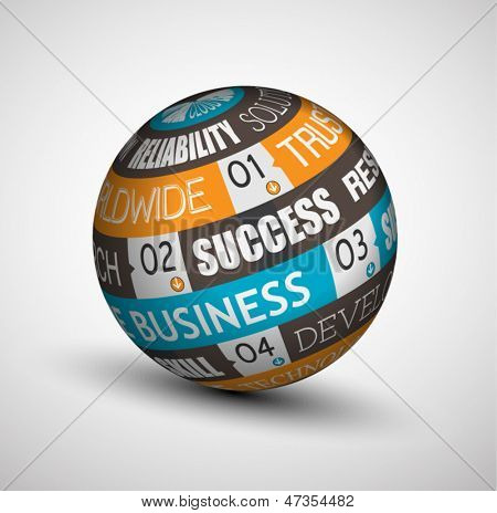 Abstract Business technology sphere of ideas. An infographics with the most important concept for core business.