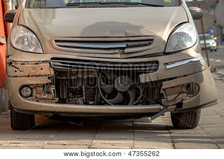 Damaged Front Part Of A Car