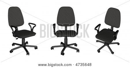 Three Office Chairs Over White