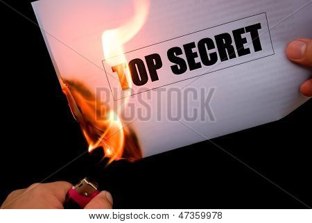 Burning A Top Secret Paper Document