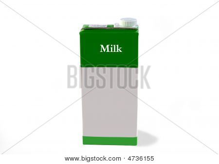 Milk Carton Isolated Over White With Clipping Path.