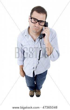 silly young man with a phone, isolated on white