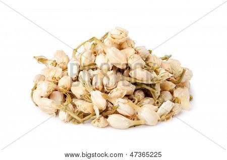 jasmine flowers tea on white background