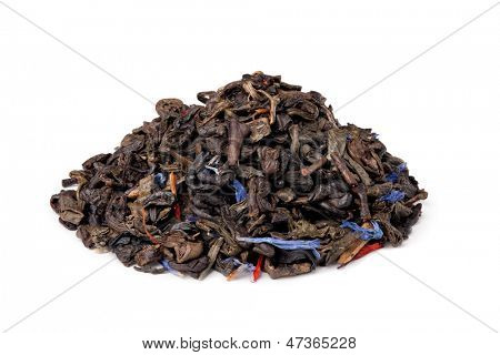aromatic Gunpowder tea with fruits and petals isolated on white