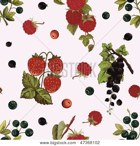 Background with various berries:  strawberry, black-currant, huckleberry, raspberry