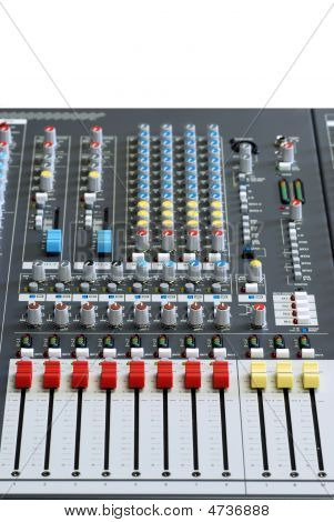 Isolated Sound Board Mixer With Focus On Red Sliders