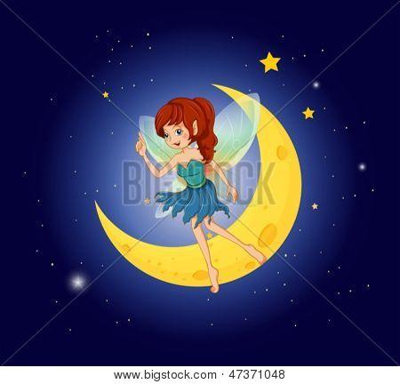 Ilustración de un hada cerca de la luna