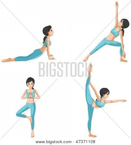 Illustration of the different positions of yoga on a white background