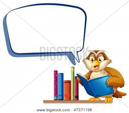Illustration of an owl reading a book with an empty rectangular callout on a white background